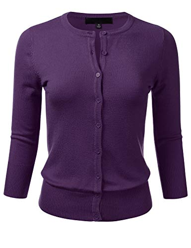 FLORIA Women's Button Down 3/4 Sleeve Crew Neck Knit Cardigan Sweater Grape L