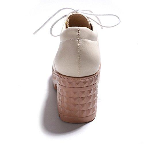 Balamasa Womens Bandage Chunky Tacchi Piattaforma Uretano Oxford Scarpe Albicocca
