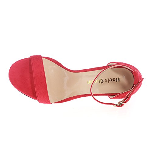 Strap Velvet Buckled Sandals for High Ankle Stilettos Red Heeled Sandals Wedding Heel Toe Party Shoes Open Evening Dress Women's fqBpy