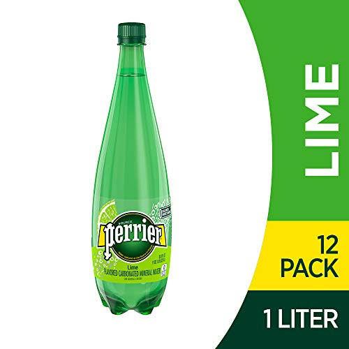 Perrier Lime Flavored Carbonated Mineral Water, Plastic Bottle, 33.8 Fl Oz, Pack of 12