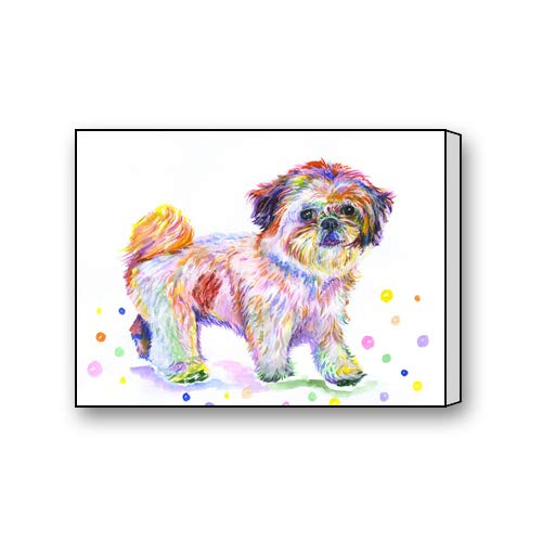 Watercolor Painting of Shih Tzu Dog Art Paintings Canvas Prints for Living Room Bedroom Home Office Decor 12