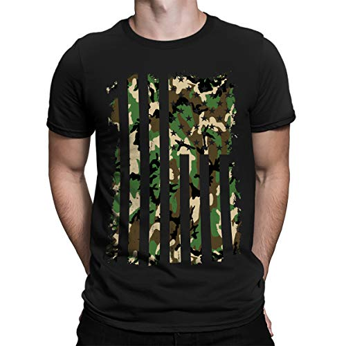 SpiritForged Apparel Distressed Camo American Flag Mens T-Shirt