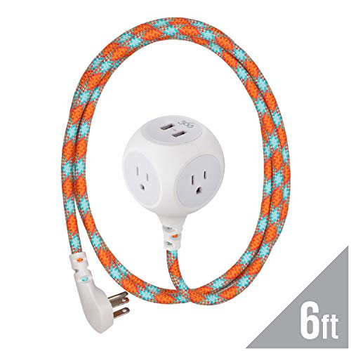 360 Electrical 360466 Habitat Braided Extension Cord w/ 2.4A Dual USB, 6 ft, Accent - Poppy Fields,