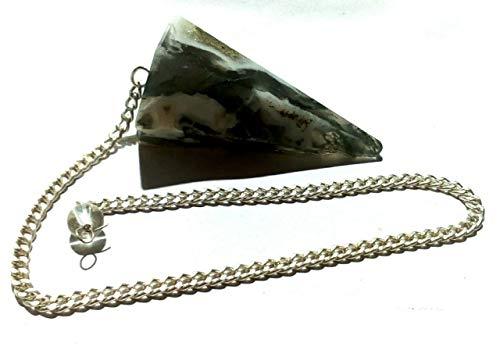 Natural Moss Agate Pendulum Made of Gemstone for Dowsing Divination Chakra Reiki
