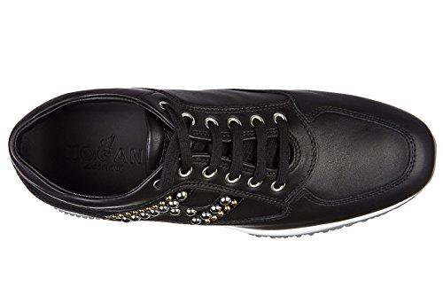 Hogan chaussures baskets sneakers femme en cuir interactive h mix borchie noir