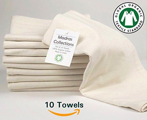 Madras Collections ORGANIC cotton Kitchen Vintage Flour Sack Kitchen Dish Towel, Commercial Restaurant Grade, Kitchen towels, (Creamy White, 28x28 Set of 10 Towels) - Vintage Flour Sack