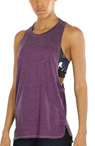 - icyzone Workout Tank Tops for Women - Running Muscle Tank Sport Exercise Gym Yoga Tops Athletic Shirts (M, Grape)