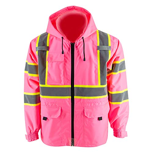 Thin windproof raincoat Pink blazer Safety & Protective Jacket, ANSI Class 3 Waterproof Construction with 100% polyester taffeta lining Work Wear (2XL, Without Padding)