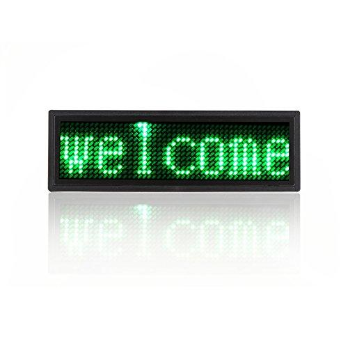 Koolertron Programmable LED Digital Scrolling Message Name Tag Id Badge(12x48 Pixels) (Green)