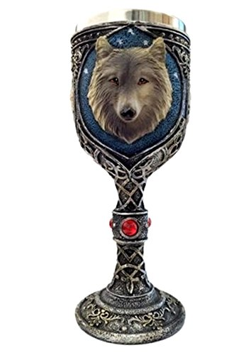 Bellaa 29950 Wolf Head Wine Goblets Ossuary Chalice Resin Body Stainless -