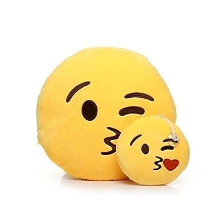Emoji Cojin Beso, Almohada Juguetes de Peluche Suave y Linda Decora tu Hogar (Besando