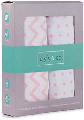 Bassinet Sheet Set 2 Pack 100% Jersey Cotton for Baby Girl by Ely's & Co. - Pink Chevron and Polka Dot by Ely's & Co.