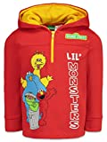 Sesame Street Toddler Boys Half Zip Fleece Pullover Hoodie Red, 4T