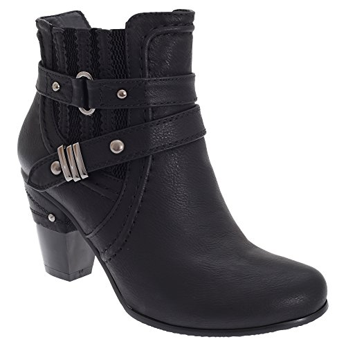 Cats Black Womens Gusset amp; Buckle Ankle YKK Eyes Boots Zip Ladies rPwr1g