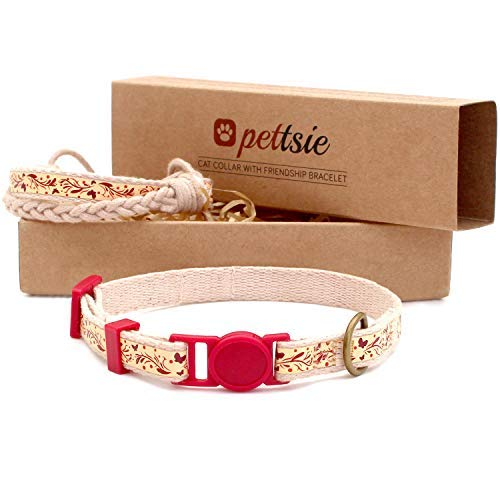Pettsie Kitten Kitty Collar Breakaway Safety and Friendship Bracelet for You, Durable 100% Cotton for Extra Safety, D-Ring for Accessories, Comfortable and Soft Cotton, Easy Adjustable 5-8 Inch -