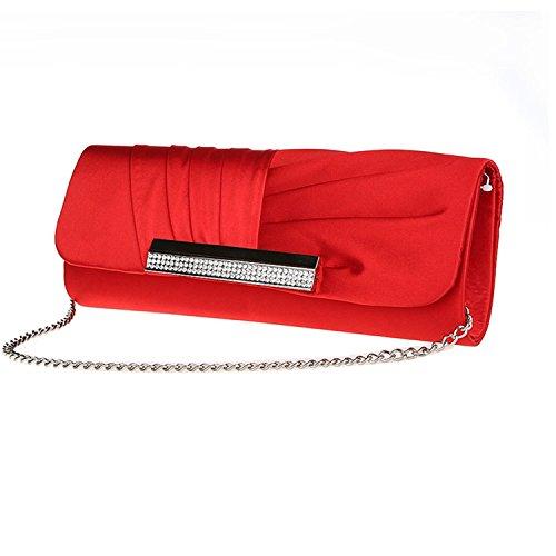 Diamante Red Pleated Clutch Bag Satin Purse Handbag Prom Evening Bridal dpqwtn5tz