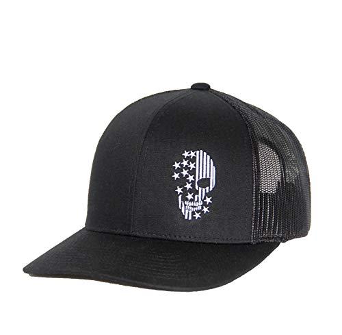 (Freshinkco. Trucker Hat - Skull American Flag Black)