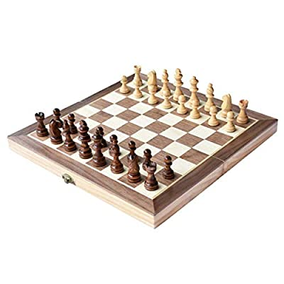 """Chess Set, 12""""x12"""" Folding Wooden Standard Travel International Chess Game Board Set Magnetic Crafted Pieces"""