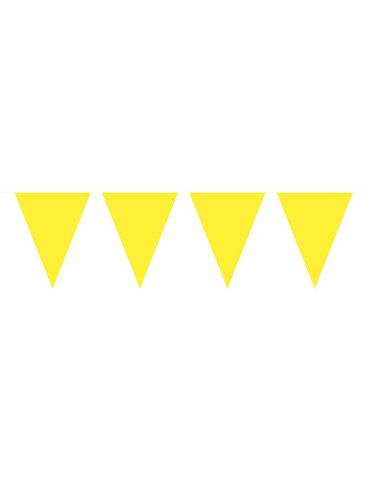 Guirlande fanions jaunes 10 m Taille Unique