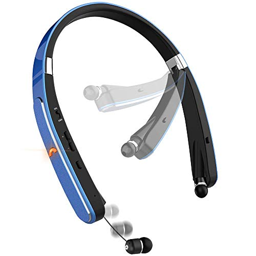 Bluetooth Headset, Bluetooth Headphones-LBell 30 Hrs Playtime Wireless Neckband Design W/Foldable Retractable Headset for Cellphones Like X/ 8/7 Plus Samsung Galaxy S9 Note 8 ()
