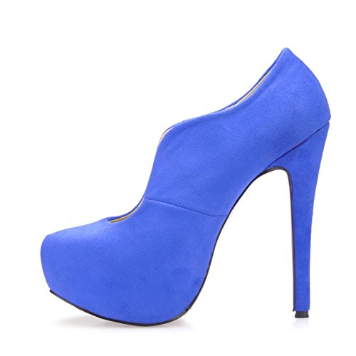 High Sole Velvet Boots 4U Rubber Best 14CM Round Autumn Blue Winter Toe Heels Stiletto Elastic Women's Shoes dEwYqdnIv