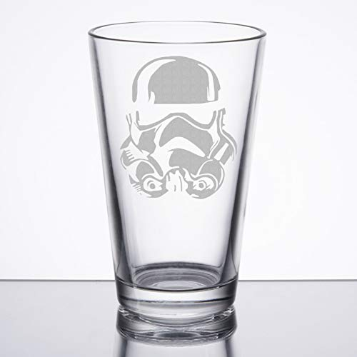 Star Wars - Storm Trooper - Etched Pint Glass by Chico's 8Bit Designs