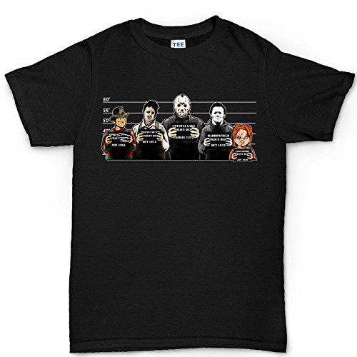 Customised_Perfection The Usual Horror Suspects Halloween T Shirt BLK XL