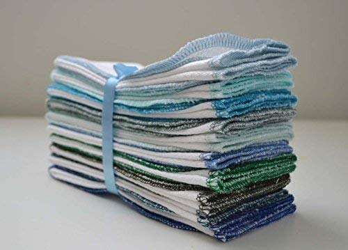 (2 Ply 11x12 Inches Organic Cotton Birdseye Paperless Towel Set of 10 Assorted Blues and Greens)