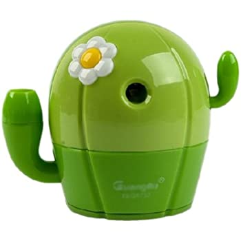 Cactus Manual Pencil Sharpener for Office and Home Desks Classroom (Green)