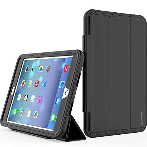iPad Mini 4 Case, SEYMAC Three Layer Drop Protection Rugged Protective Heavy Duty Stand Case with Magnetic Smart Auto Wake/Sleep Cover for iPad Mini 4(a1538, a1550) Black