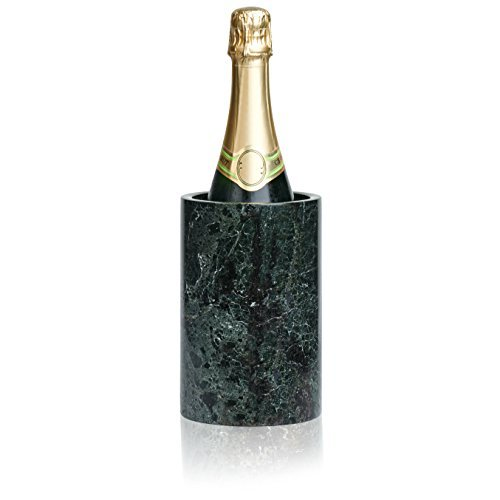 (LUXXWARE Premium Black Marble Wine Chiller - 4.5x4.5x7 - Enhanced Cooler | House Decor - Also Serves as Kitchen Utensil Set Holder or Flower Vase - Fathers Day, Dinner Party, Birthday, Hostess Gift)