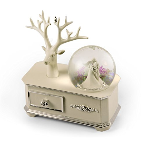 Ivory Wedding Couple Musical Snow Globe Atop Of A Silver Accented Commode - Fly Me to the Moon by MusicBoxAttic