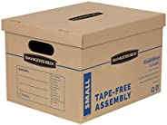 Bankers Box SmoothMove Classic Moving Boxes, Tape-Free Assembly, Easy Carry Handles, Small, 15 x 12 x 10 Inche