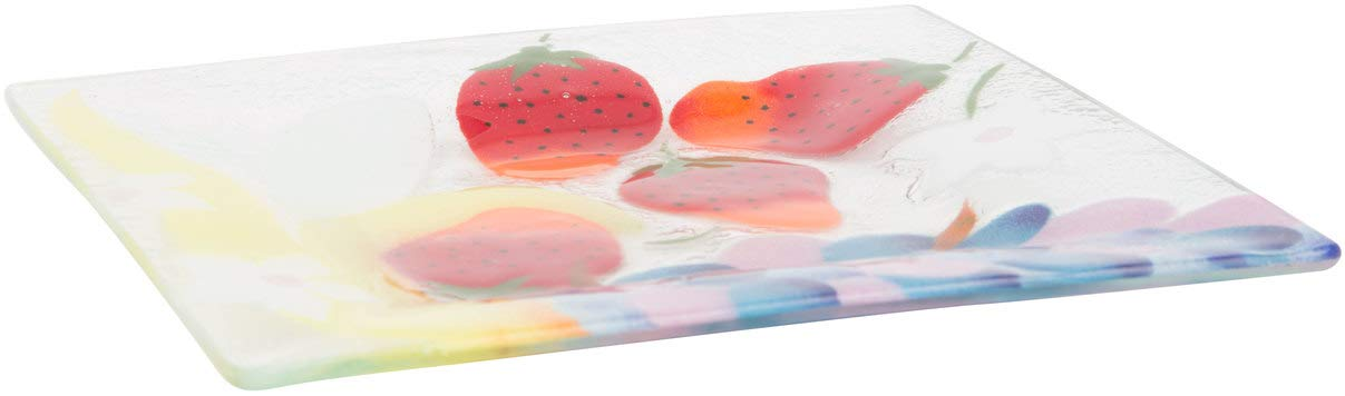 Fusion Art Glass 7-Inch Square Plate with Fruit Medley Design Pavilion Gift company 56046