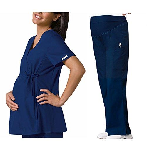 Cherokee Flexibles Women's Maternity 2892 Top & 2092 Pant Medical Uniform Scrub Set + FREE GIFT (Navy - Small) (Scrub Top Flexibles V-neck Tunic)