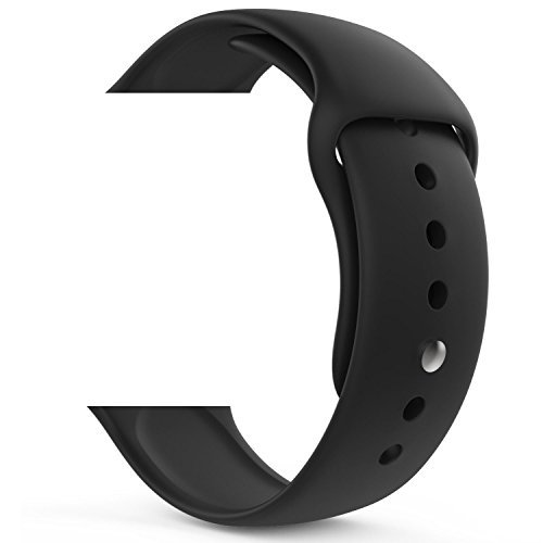 Silicone 38mm Watchband for iWatch Apple (Black) - 4