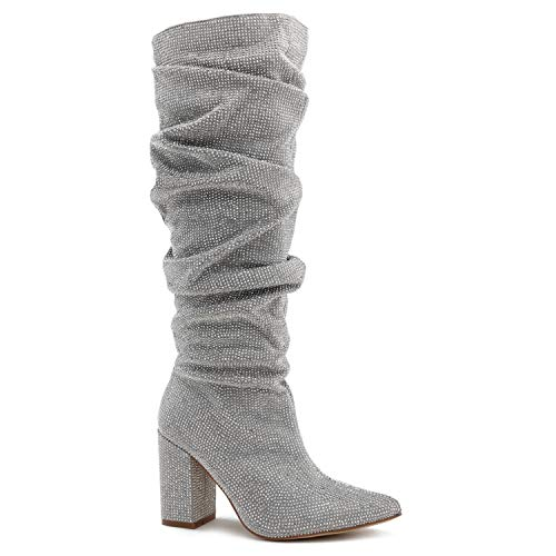 Crystal Embellished - Paris Peach Women's Rhinestone Crystal Embellished Pull On Pointy Toe Cone Heel Knee High Slouch Boot Silver SU (7)