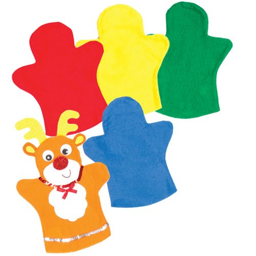 Baker Ross Soft Colored Felt Hand Puppets for Children to Decorate for Puppet Shows (Pack of 6) ()