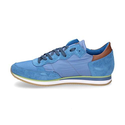 Modello Philippe Mens Trluw041 Sneakers In Pelle Scamosciata Blu Chiaro