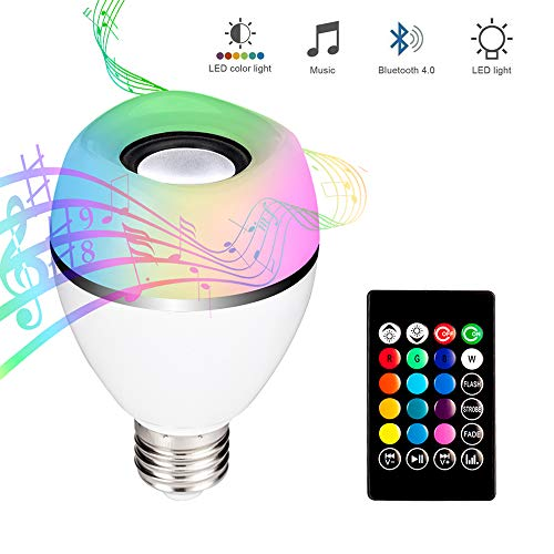 E27 Led Light Bulb with Bluetooth Speaker, RGB+White Color Changing Lamp Built-in Audio Speaker with Remote Control for Home, Bedroom, Living Room, Party Decoration - Light Flashing As Music Goes