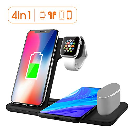 Xoopar Wireless Charger Stand for Apple Watch 5 Airpods Pro, Qi Fast Wireless Charger, 4 in 1 Charging Dock Station Compatible with iPhone 11 Pro Max Xr X Xs Max/iWatch 5 4 3 2 1/Airpods 1 2
