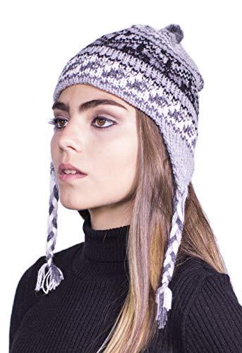 Raymis Peruvian Women´s Hand Knit Alpaca Cuzco Beanie Hat Cap Skullcap (Grey)