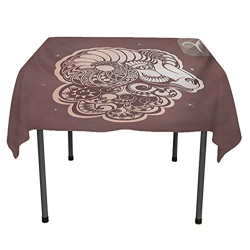 Zodiac Aries party supplies tablecloth Stylized Ram Animal Artwork with Little Stars and the Sign Esoteric Umber and Pale Peach camper picnic table cloth Spring/Summer/Party/Picnic 54 By 54