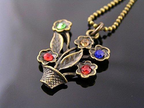Flower Pot Necklace, Hand Set (Whimsical Figural)