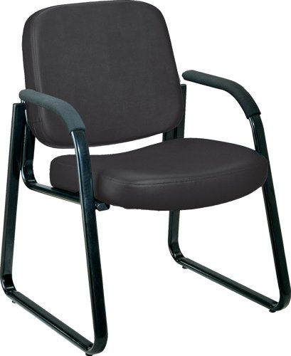 OFM Vinyl Guest / Reception Chair with Arms Black by OFM