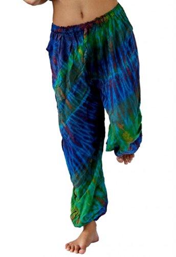 (Treasures of Thailand Real Tie Dye Pants Unisex Harem Hippy Beach Casual Wear Blue)