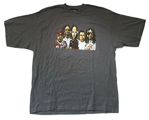 Korn Bandwidth Cartoon Group Image Dot Com Grey T Shirt (3X) (T-shirts Korn Printed)