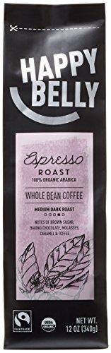 Amazon Brand - Happy Belly Espresso Roast Organic Fairtrade Coffee, Medium Dark Roast, Whole Bean, 12 ounce by...