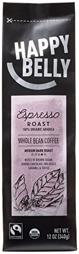Happy Belly Espresso Roast Organic Fairtrade Coffee, Medium Dark Roast, Whole Bean, 12 ounce