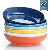 Sweese 1310 Porcelain Salad/Pasta Bowls - 22 Ounce - Set of 6, Assorted Colors